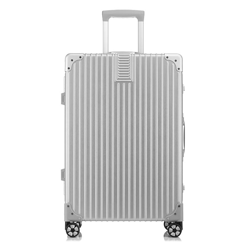 WRC金丝拉面静音耐磨时尚包角万向轮铝框拉杆箱旅行箱W-C6028A银色20寸