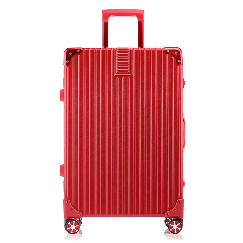 WRC金丝拉面静音耐磨时尚包角万向轮铝框拉杆箱旅行箱W-C6028A红色24寸
