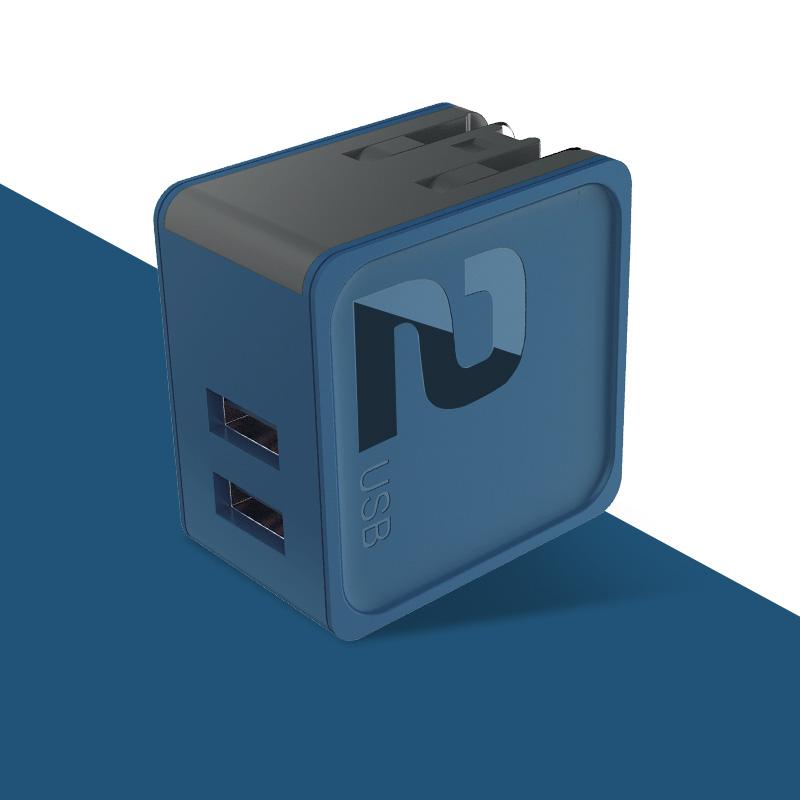 rock 方糖系列旅行充电器 双口旅行充电器 蓝色