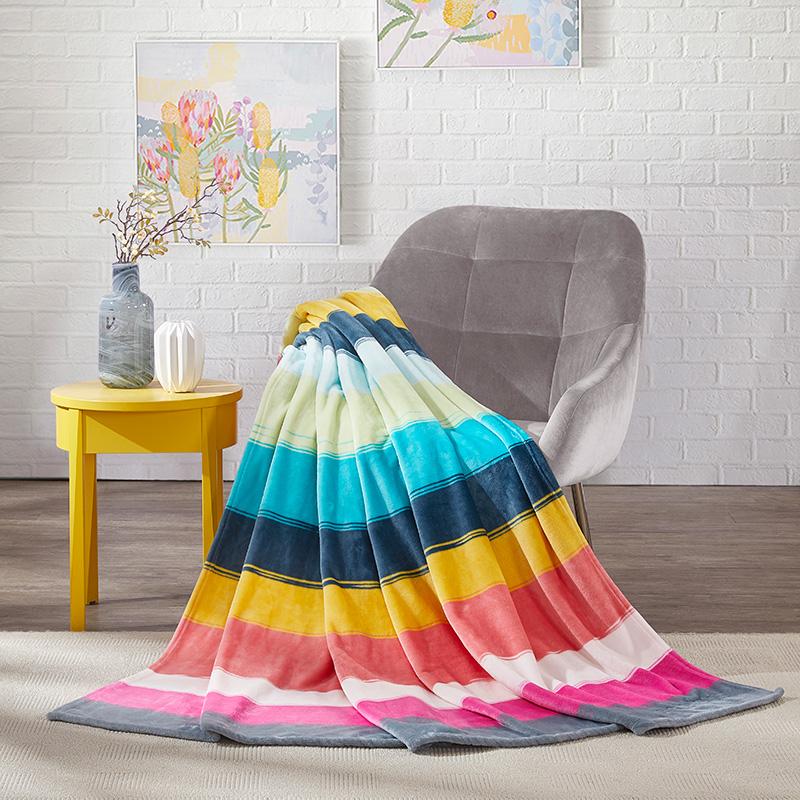 ESPRIT BaTZ05彩虹色法兰绒毯 180*200 彩虹色