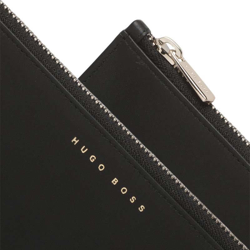 HUGO BOSS 尊贵黑色真皮商务公文手包HLM606A 黑色26.0 x 19.5 x 2.0cm
