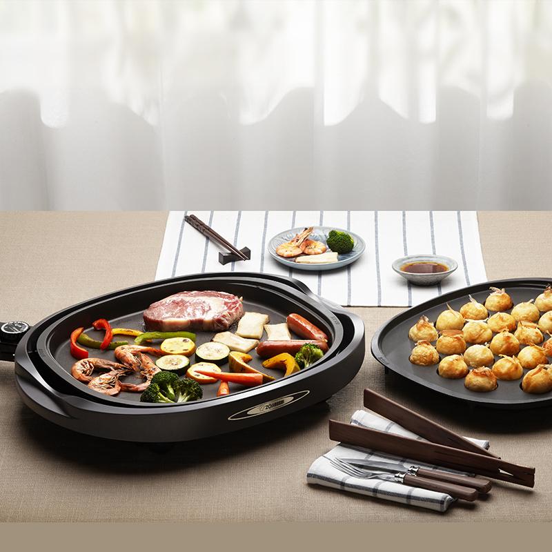ZOJIRUSHI 电烧烤盘可拆卸多功能煎烤机【送章鱼盘】EA-BCH10C-TA茶色