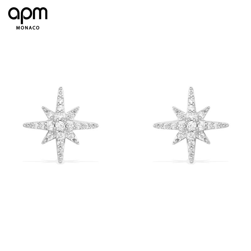 APMMonacoMETEORITES纯法式银镶晶钻流星耳钉耳环女饰品AE8419OX
