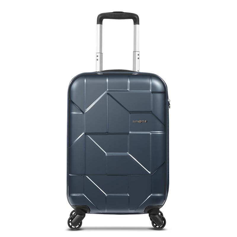 Samsonite/新秀丽万向轮商务拉杆箱时尚几何亮面行李箱可登机密码锁旅行箱20英寸I60*18101炭灰色