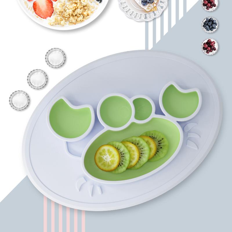 绮眠宝贝海底世界系列硅胶餐盘螃蟹款(晨空蓝&湖光绿)