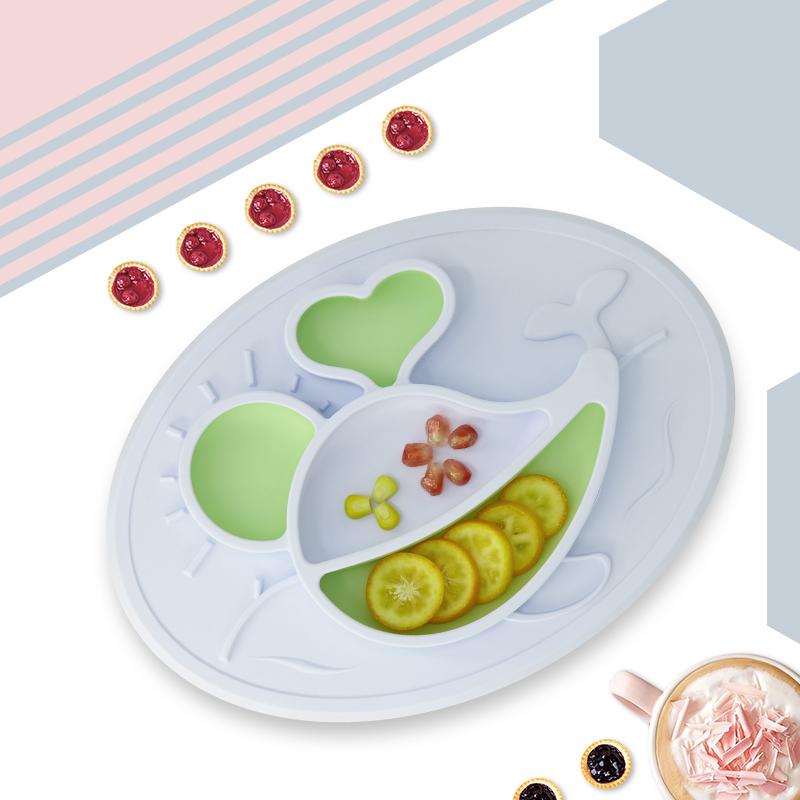 绮眠宝贝海底世界系列硅胶餐盘鲸鱼款(晨空蓝&湖光绿)
