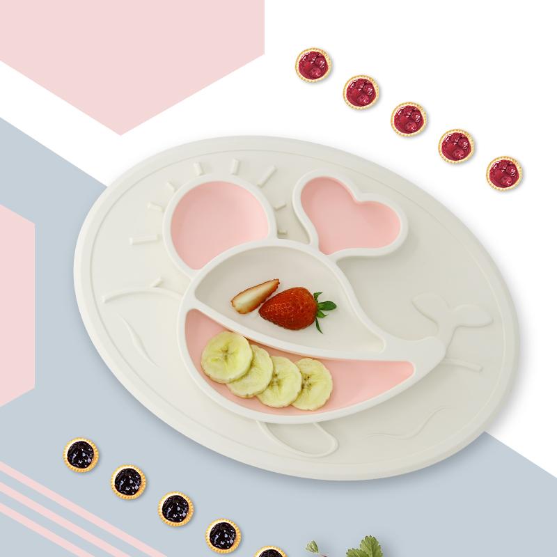 绮眠宝贝海底世界系列硅胶餐盘鲸鱼款(椰奶白&樱花粉)