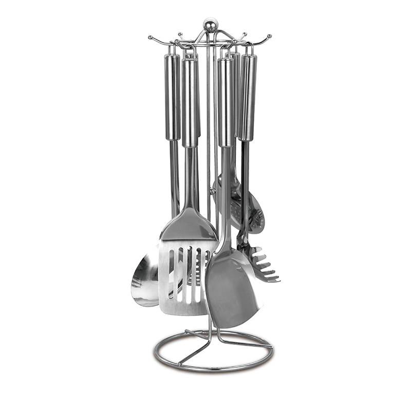 德世朗臻品炊具七件套B 铲子平铲汤勺漏勺面勺饭勺漏风式线条钢架 DFS-CJ002-7B