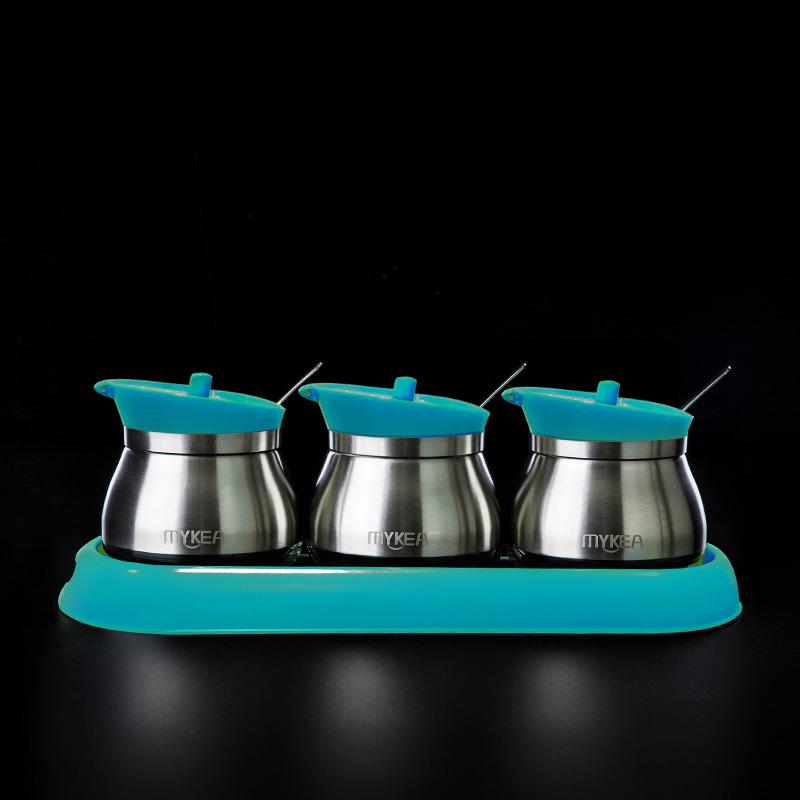 谜家 304不锈钢厨房佐料盒家用调料盒调味罐作料盒调味盒组合套装厨房用品三件套 蓝色 260ml B9451-4