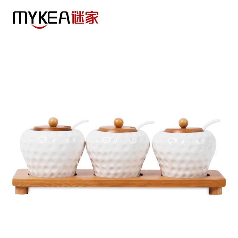 谜家 陶瓷调料盒调味罐调味盒套装厨房用品三件套  白色 280ML*3 J1504002