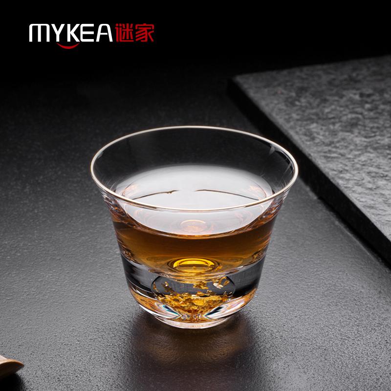 谜家玻璃茶杯家用高端藏金杯功夫小茶杯创意茶盏莲影杯单只(BB1806)100ml