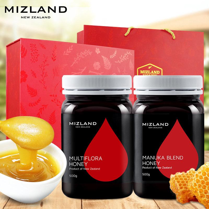 蜜滋兰新西兰原装进口多花种500g+忍冬麦卢卡混合蜂蜜500g礼盒装