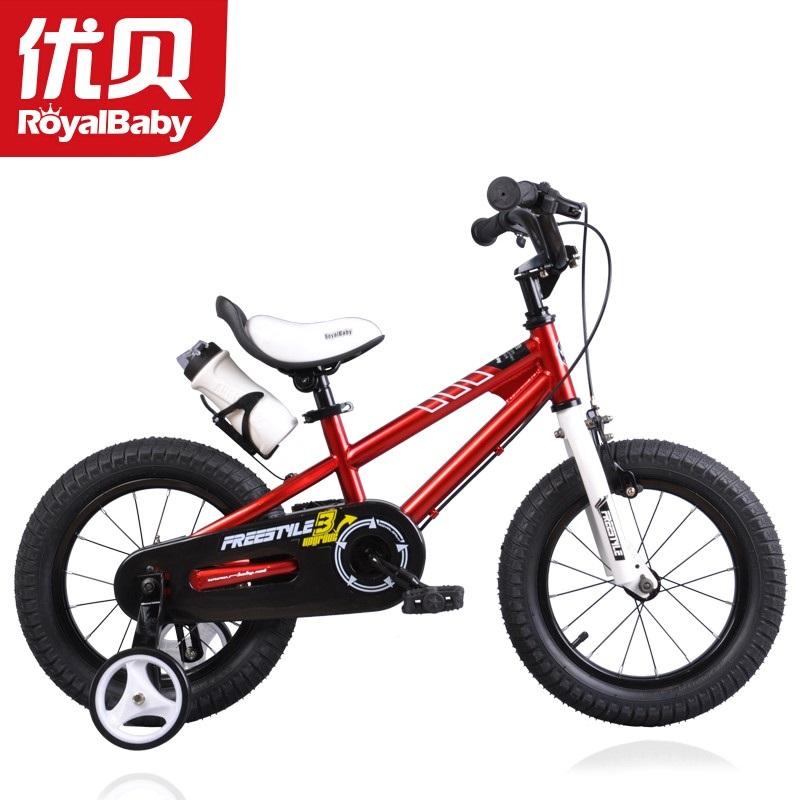 优贝儿童自行车3宝宝脚踏车2-4-6-7-8-9-10岁童车男孩女孩单车14寸表演车(红色)