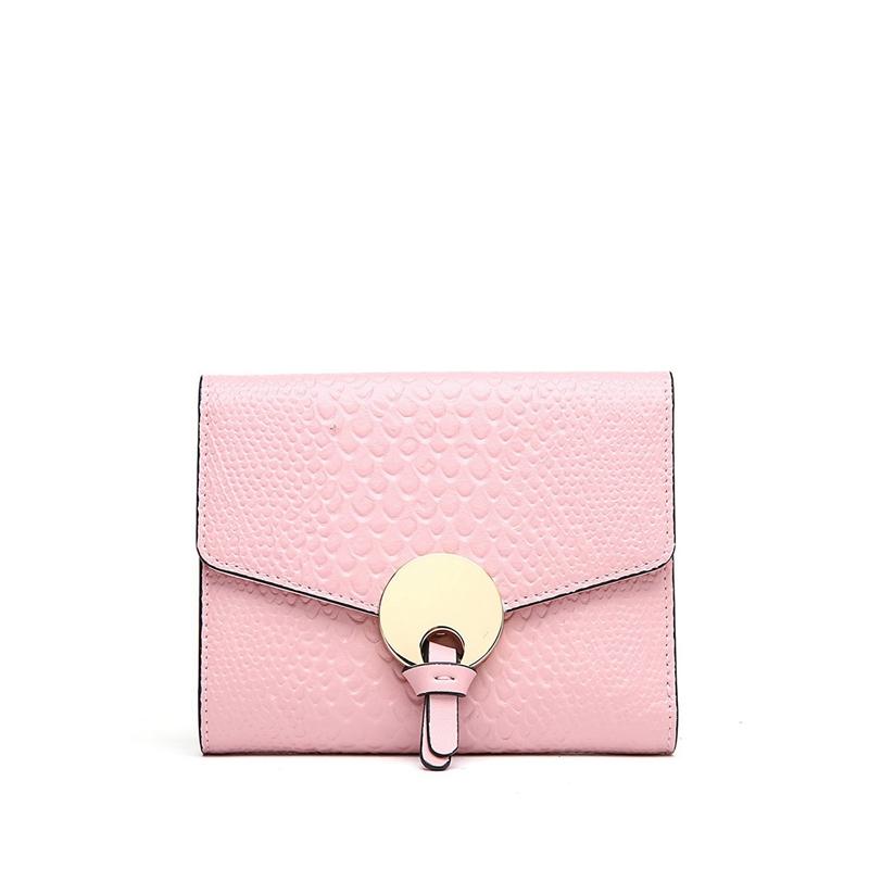 OMTO 鱷魚紋牛皮時尚大氣短款錢包女包 粉色10*2.5*12cm