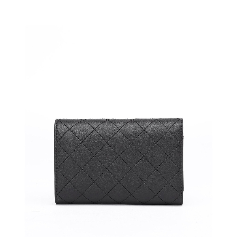 OMTO 車線菱格時尚短款錢包女包 黑色14.5*4.5*10cm