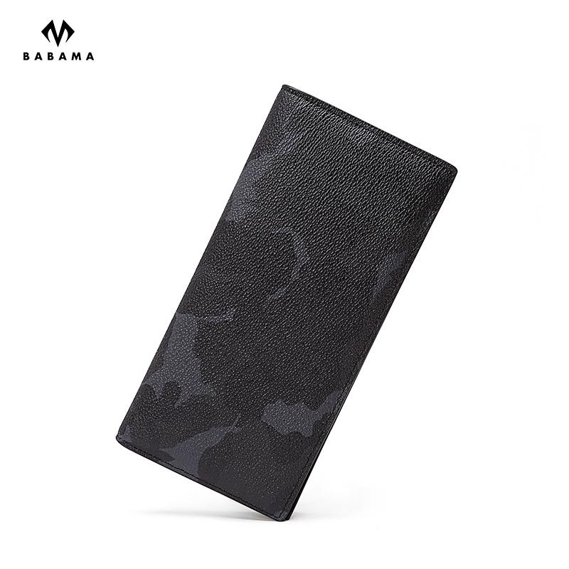 BABAMA 男士黑色迷彩長款錢包手拿包 19*2.4*9.3cm