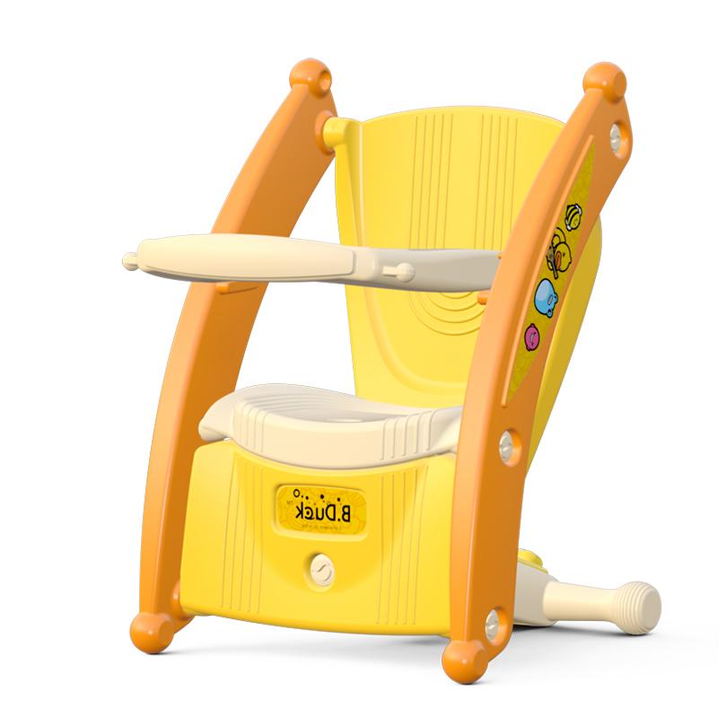 Luddy樂的嬰兒搖搖馬兩用1-3周歲帶音樂玩具木馬吃飯椅子折疊便攜寶寶餐椅3001小黃鴨