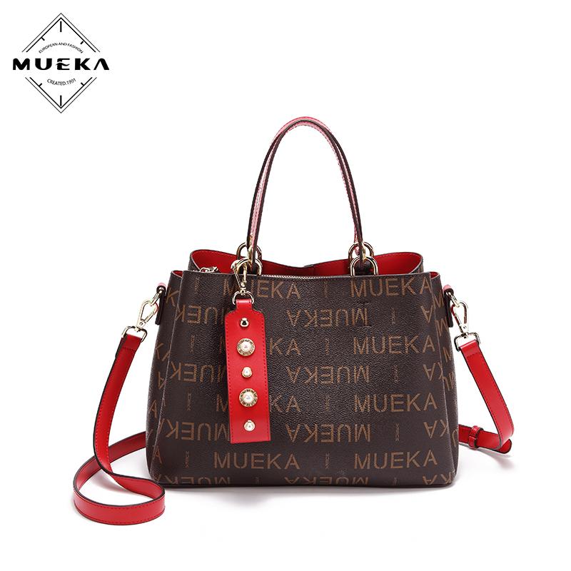 Mueka 茉妮卡包包女2018新款品牌女包斜挎包百搭手提包秋冬大容量單肩包 M8225紅色包帶