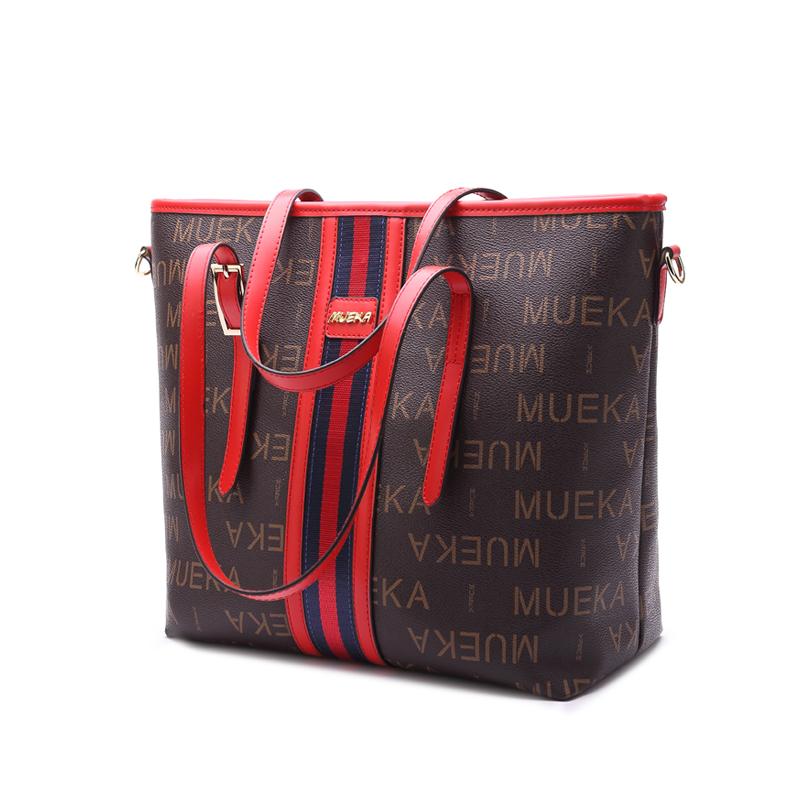 Mueka 茉妮卡女包包2018新款时尚 单肩大容量托特包 百搭手提包秋冬上新 M8230红色包带