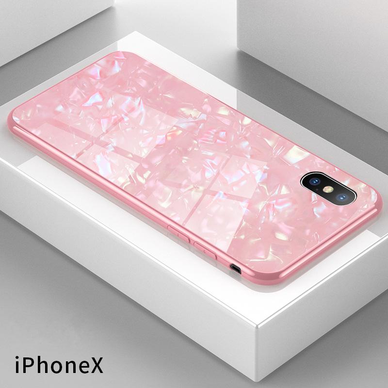 苹果iphoneX/XS手机壳 女款玻璃镜面个性潮全包边硅胶防摔六韩国贝壳纹外壳?;ぬ状匆獬迸?粉色贝壳纹