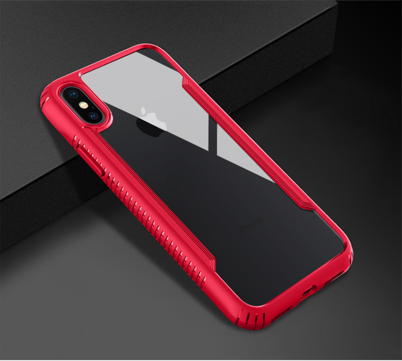 苹果iphoneX/XS手机壳 女款玻璃镜面个性潮全包边硅胶防摔六韩国贝壳纹外壳?;ぬ状匆獬迸?红色一体