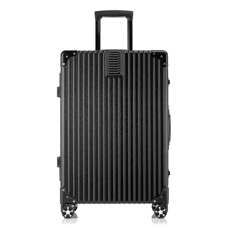 WRC金絲拉面靜音耐磨時尚包角萬向輪鋁框拉桿箱旅行箱W-C6028A炫酷黑24寸
