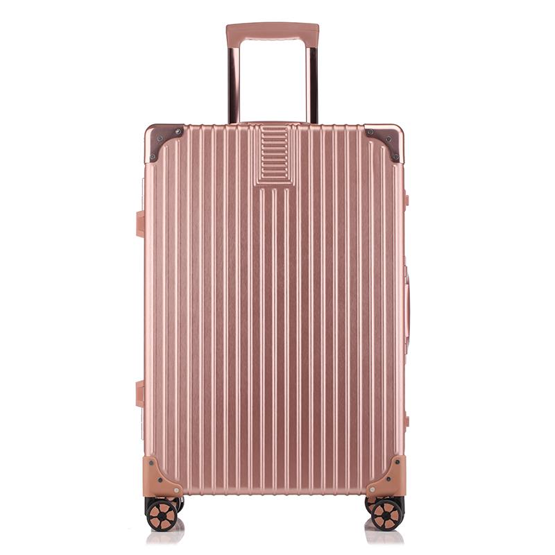 WRC金丝拉面静音耐磨时尚包角万向轮铝框拉杆箱旅行箱W-C6028A粉色20寸