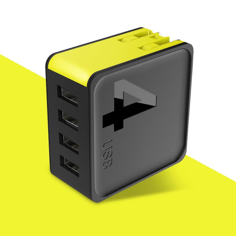 rock 方糖系列旅行充电器 四口旅行充电器 黑色