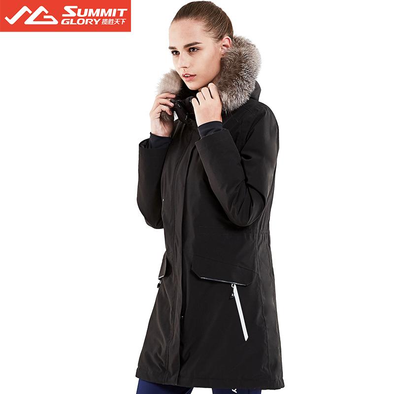 攬勝天下SUMMITGLORY經典款時尚保暖女款女士沖鋒衣羽絨服黑色S