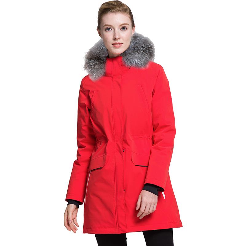 攬勝天下SUMMITGLORY經典款時尚保暖女款女士沖鋒衣羽絨服大紅S
