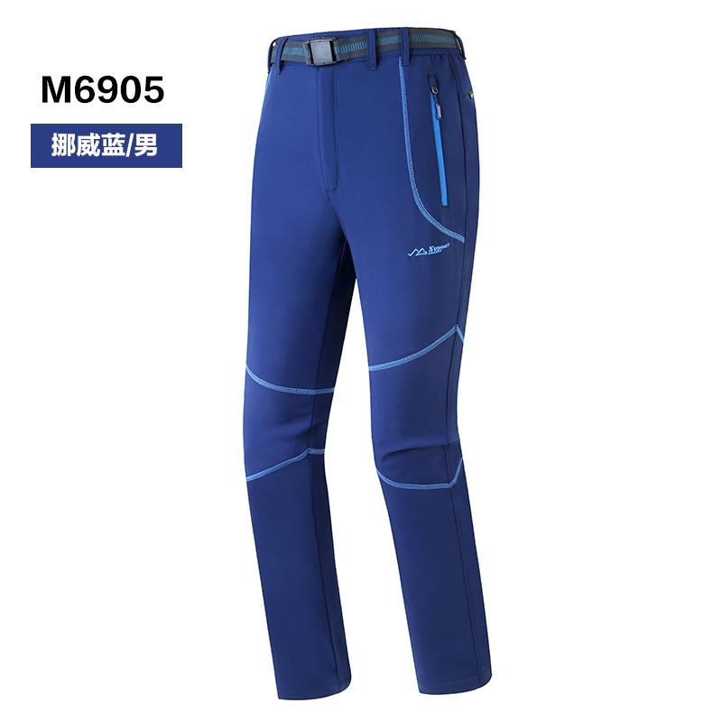 攬勝天下SUMMITGLORY舒適輕便休閑戶外男款加絨運動軟殼褲挪威藍S