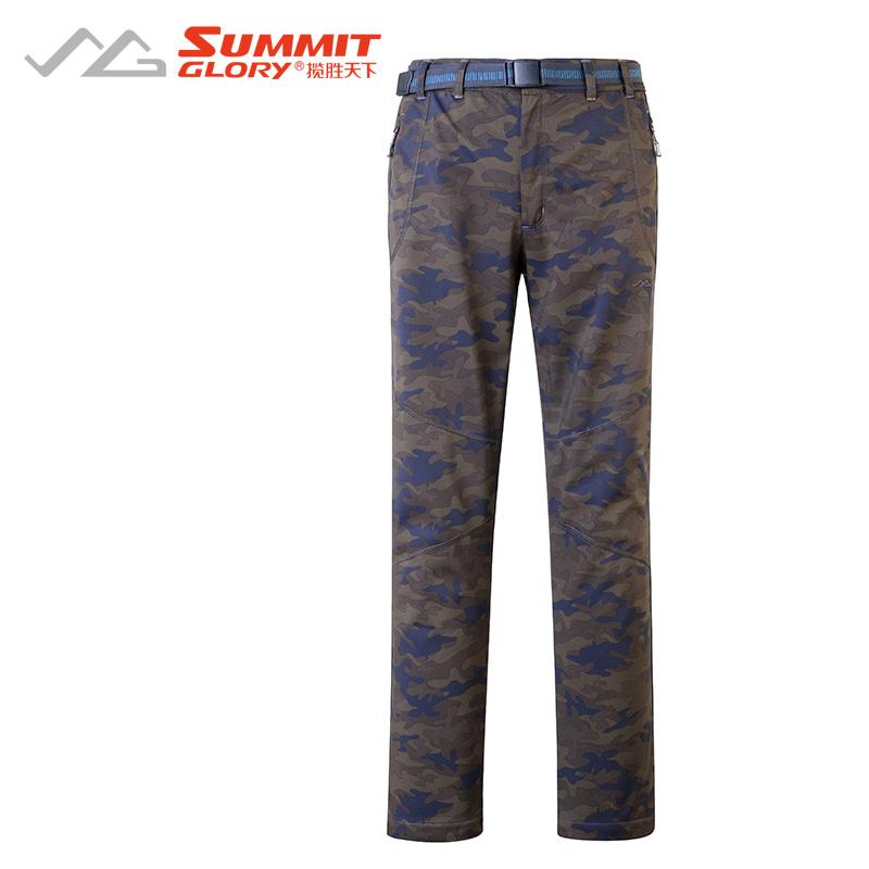 揽胜天下SUMMITGLORY舒适轻便休闲户外男款加绒运动软壳裤棕绿迷彩XL