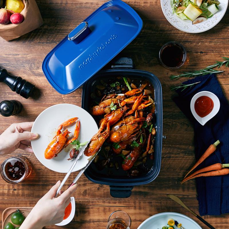摩飞电器 多功能电烧锅MR9088 蓝色-标配+平烤盘
