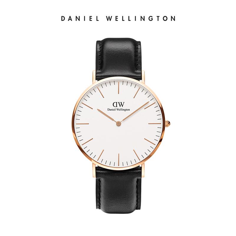 丹尼尔惠灵顿(DanielWellington)手表Classic Black Sheffield经典绅士系列金边白盘黑色皮带40MM薄欧美简约DW石英表男表DW00100007