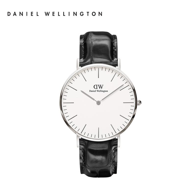 丹尼尔惠灵顿(DanielWellington)手表Classic St Mawes经典绅士系列银边白盘黑色条纹皮带40MM薄欧美简约DW石英表男表DW00100028