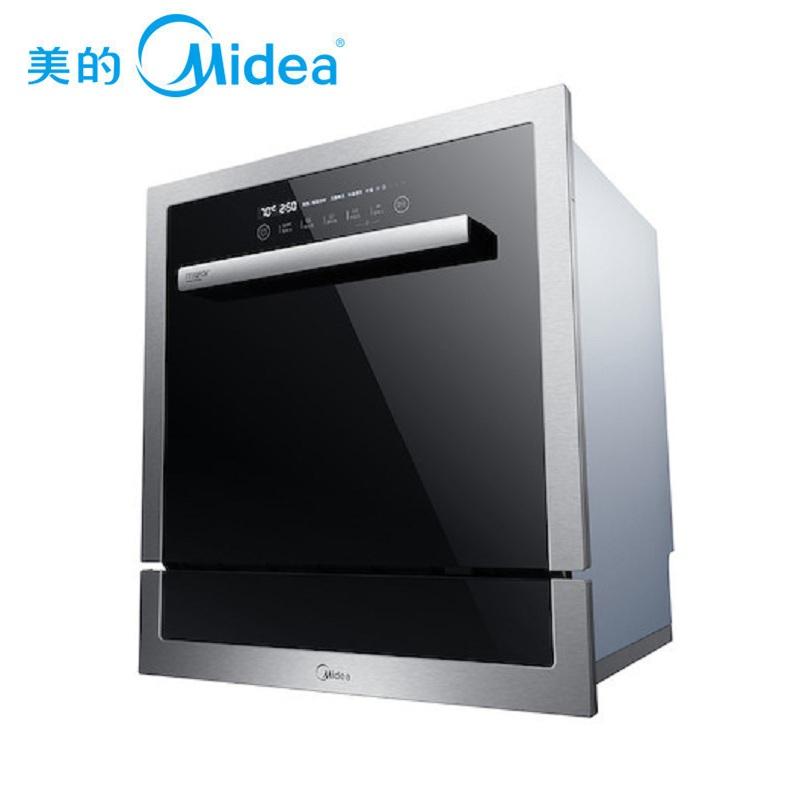 美的(Midea)家用8套WIFI智能洗軟水除菌風機烘干嵌入式洗碗機WQP8-W3906B-CN