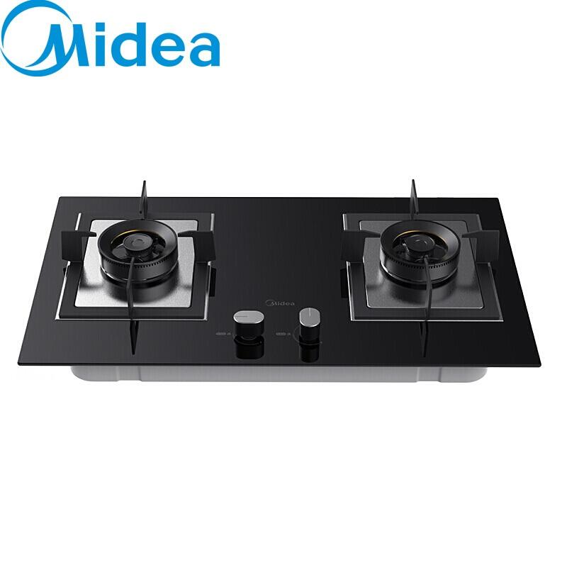 美的(Midea) 家用钢化玻璃台面嵌入式燃气灶具炉具 双眼灶台 大火力 一级能效JZY-Q66 液化气