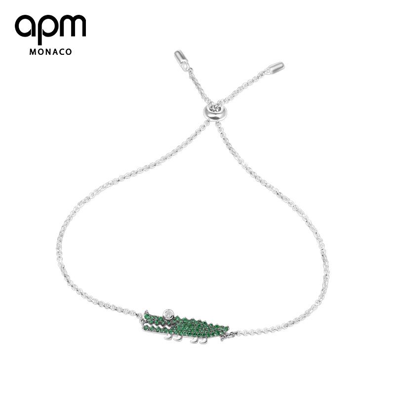 APMMonaco銀鑲薄荷綠晶鉆小鱷魚手鏈女簡約個性情侶手飾AB3522XKG