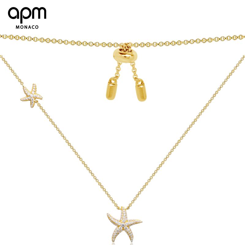 APMMonaco銀鑲晶鉆金黃色海星項鏈長款吊墜情侶小眾鎖骨鏈飾品AC3178OXY