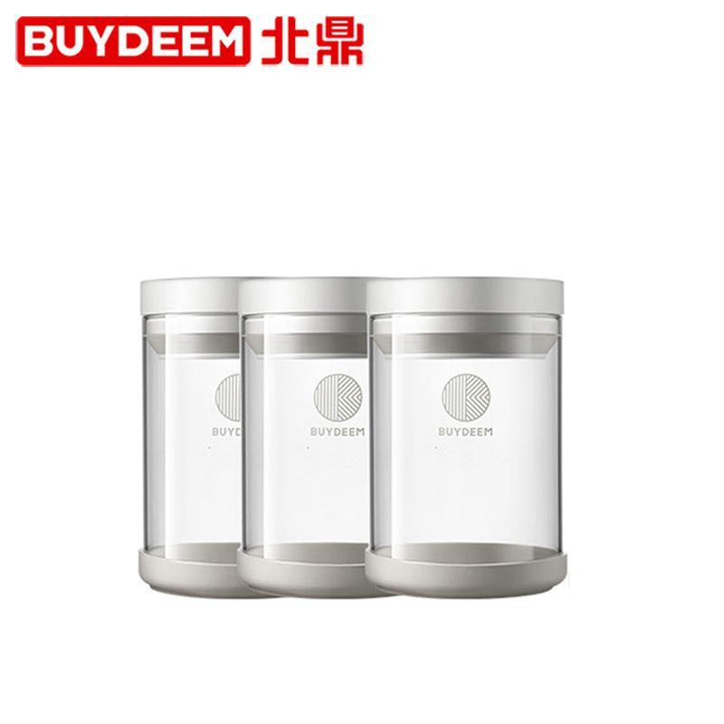 Buydeem/北鼎 定制高硼硅玻璃一键密封储物罐套装(按钮款) 600ml*3