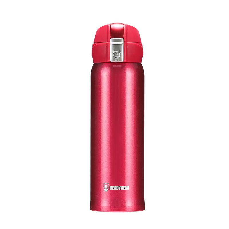 杯具熊UV纯色新工艺保温杯红500ml