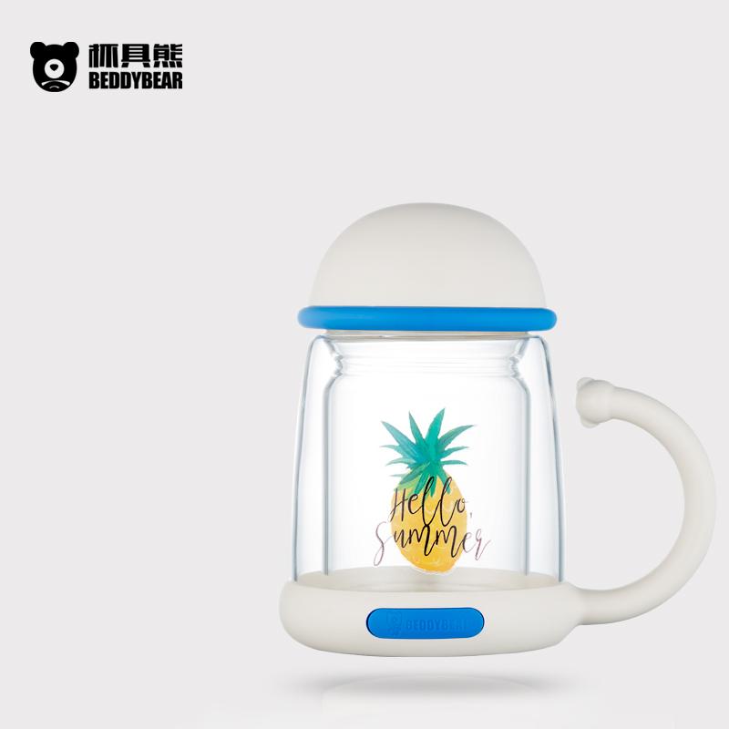 杯具熊單雙層耐熱玻璃杯320ml (大菠蘿)
