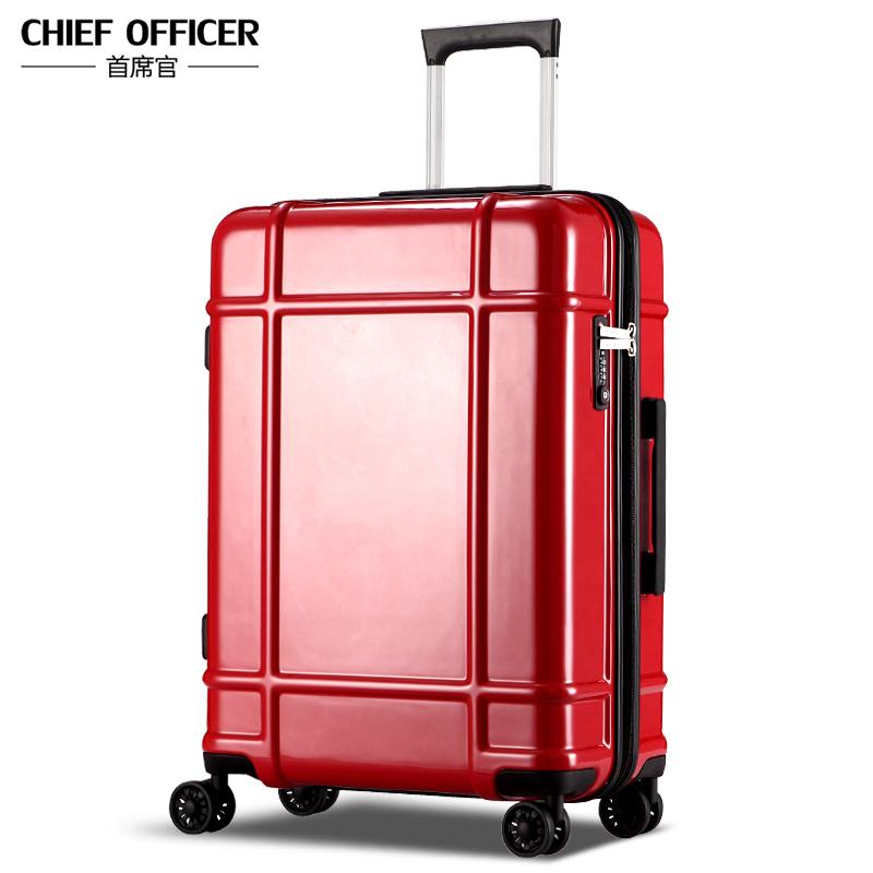 首席官拉杆箱 万向轮行李箱密码箱1404贵族红 28寸