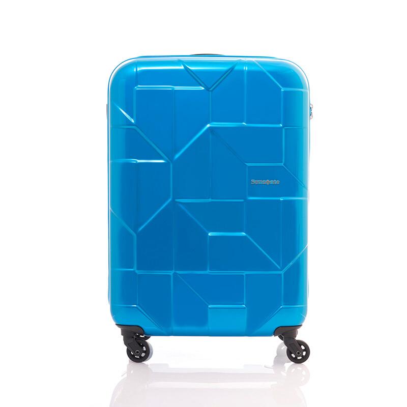 Samsonite/新秀丽万向轮商务拉杆箱时尚几何亮面行李箱可登机密码锁旅行箱20英寸I60*82101蓝绿色