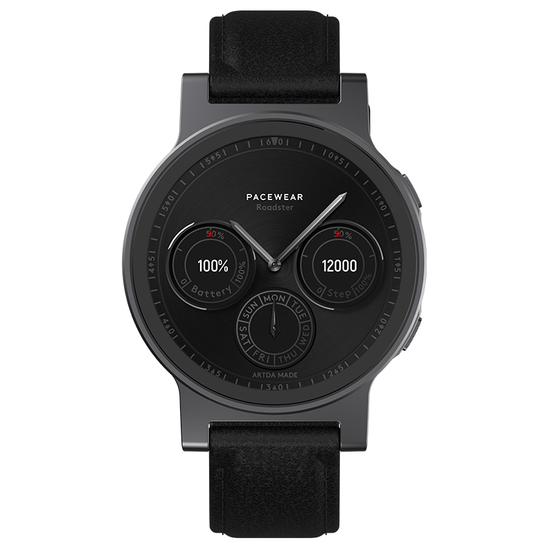 Pacewear真時P1 pro多功能藍牙運動智能手表(槍色+黑色皮帶+槍色硅膠菱紋表帶)