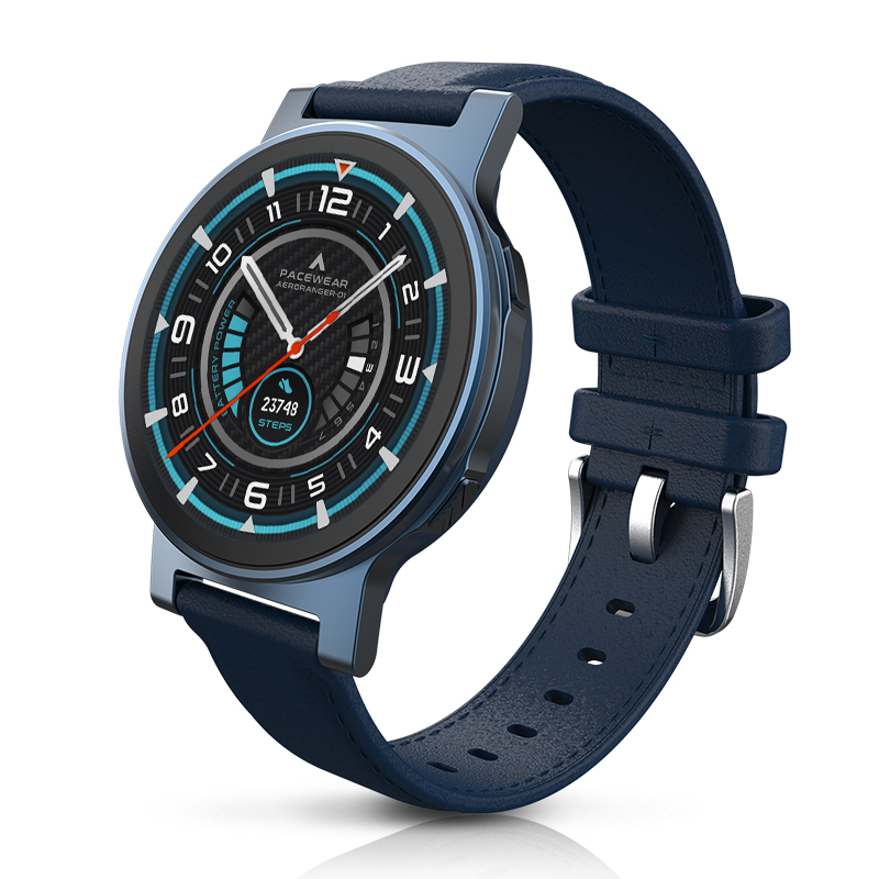 Pacewear真時P1 pro多功能藍牙運動智能手表(藍色+藍色皮帶+槍色硅膠菱紋表帶)