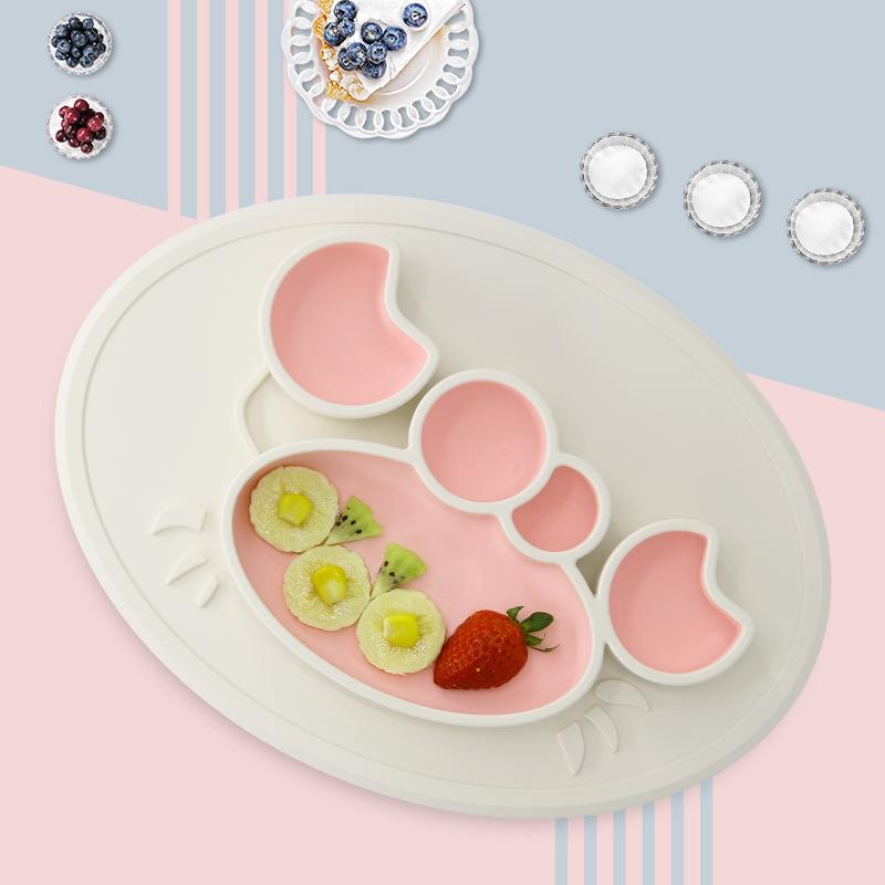 绮眠宝贝海底世界系列硅胶餐盘螃蟹款(椰奶白&樱花粉)