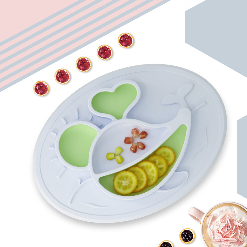 綺眠寶貝海底世界系列硅膠餐盤鯨魚款(晨空藍&湖光綠)