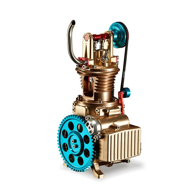 土星工匠師單缸汽車發動機模型3D金屬拼裝拼插模型大人玩具高難度機械組裝引擎可發動DM17單缸發動機-T
