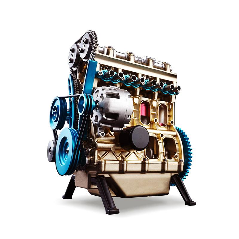 土星工匠師直列四缸汽車發動機模型3D金屬拼裝拼插模型 大人玩具高難度機械組裝引擎可發動DM13直四發動機